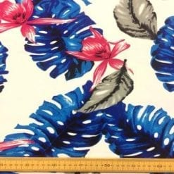 Georgette Fabric Blue Fern Leaf