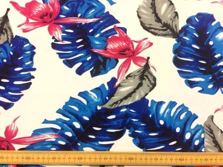 Georgette Fabric Blue Fern Leaf