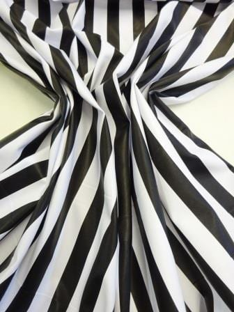 Faux Leather Fabric 2.5cm Black and White Stripe