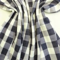 Scuba Jersey Fabric Grey Check
