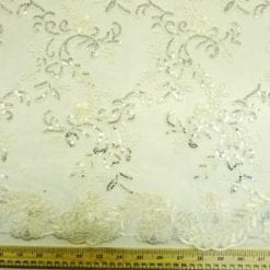 Lace Fabric Louisa Embroidered Scalloped Lace ivory