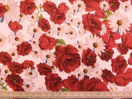 Crepe De Chine Fabric Ivory Picady Rose