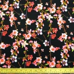 Crepe De Chine Fabric Black Wall Flowers