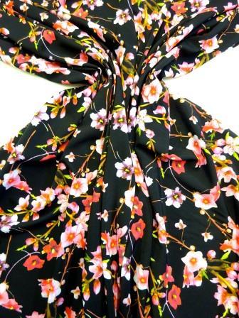 Crepe De Chine Fabric Black Wall Flowers