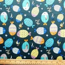 Cotton Brushed Fabric Patterned Fish teal