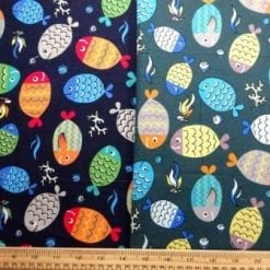 Cotton Brushed Fabric Patterned Fish
