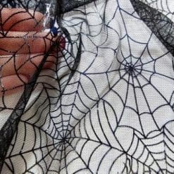 Mesh Fabric Black Spiders Web