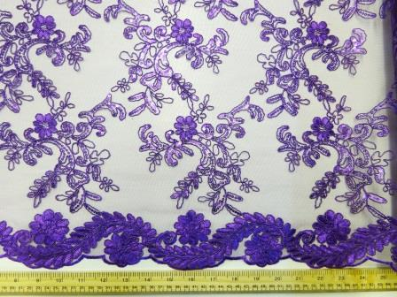 Purple Lace Louisa Embroidered Scalloped Lace