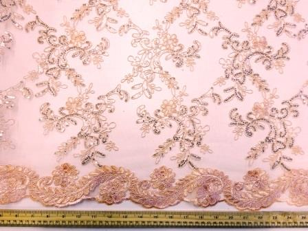 Peach Lace Louisa Embroidered Scalloped Lace