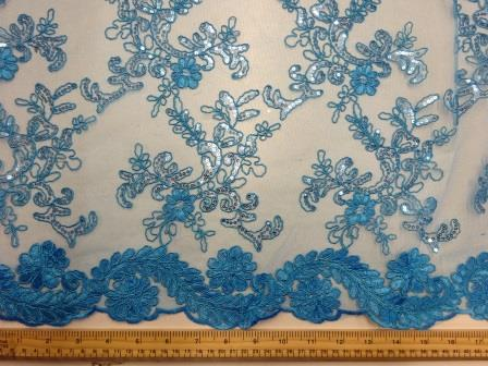 Turquoise Lace Louisa Embroidered Scalloped Lace