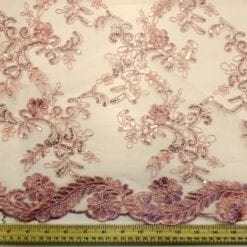 Dusky pink Lace Louisa Embroidered Scalloped Lace