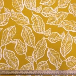 Crepe De Chine Fabric Mustard Fern Leaf Perfection