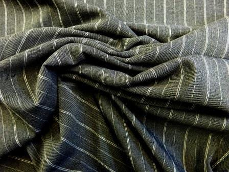 Suiting Fabric Pin Stripe Dover Grey Polyester Viscose