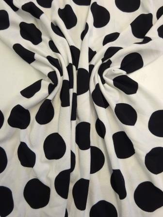 Crepe Jersey Fabric Huge Black Tom Cat Spot