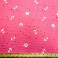 Crepe Jersey Fabric Pink Ship's Wheel