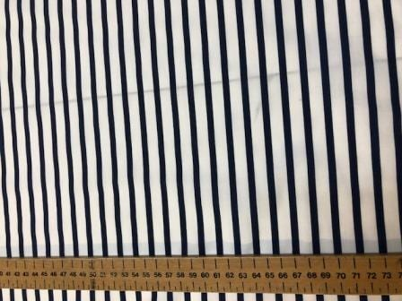 Polyester Cotton Fabric Jolly Roger Navy 0.5cm Stripe