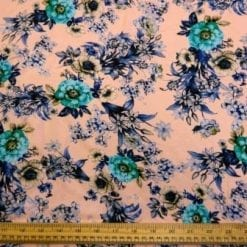 Viscose Fabric Pink Peony Floral