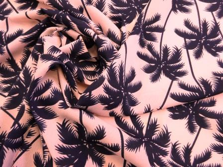 Crepe Fabric Honolulu Navy Palm Trees