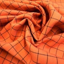 Suiting Fabric Rupert Check Orange