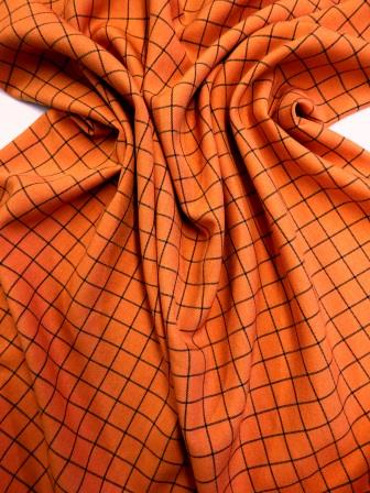 Suiting Fabric Rupert Check Orange