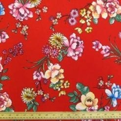 Crepe De Chine Fabric Red Floral Sprite