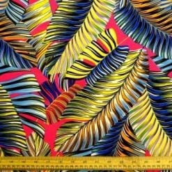 Crepe De Chine Fabric Multi Coloured Tropical Ferns