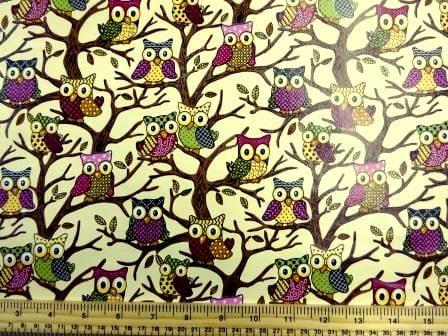 Cream PVC Tabling Fabric Owls