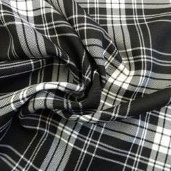 Tartan Suiting Fabric Black/White Mcness
