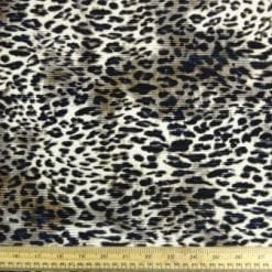 Satin Fabric Grey Leopard Crystal Pleating