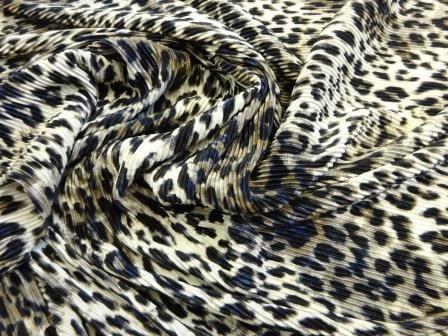 Satin Fabric Grey Leopard Crystal Pleating