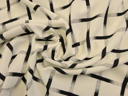 Jersey Fabric Cross Roads Ivory Black