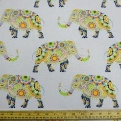 Cotton Canvas Fabric Elephant Fiesta
