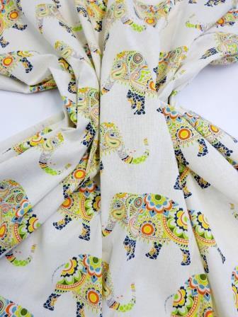 Cotton Canvas Fabric Elephant Fiesta