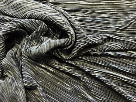 Satin Fabric Crystal Pleating Dark Grey