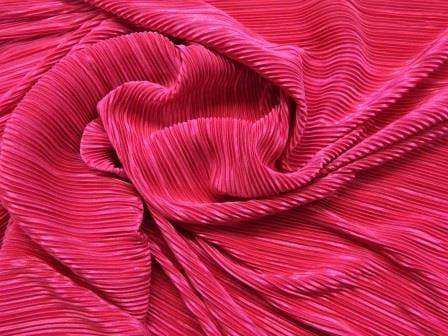 Satin Fabric Crystal Pleating Cerise