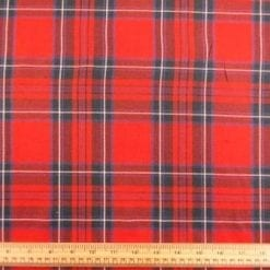 Tartan Brushed Cotton Fabric Red Roy