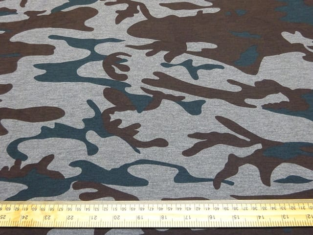 Grey Army Camouflage Printed T-shirting