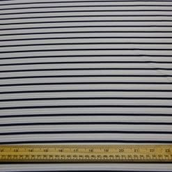 Jersey Fabric Striped Ribbed Navy Ivory
