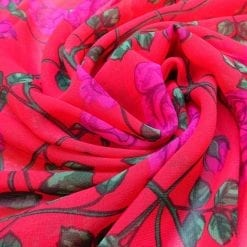Georgette Fabric Red Fairy Vine Roses