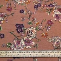 Georgette Fabric Rose Gold Edible Floral Heavy Crinkle