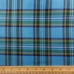 Polyester Tartan Scottish Suiting Fabric turquoise stewart