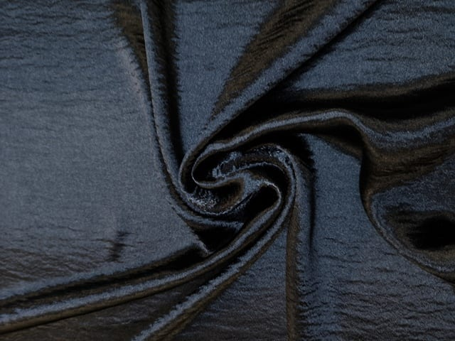 Satin Fabric Drapey Creased Hi Gloss Black
