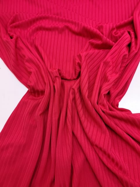T-Shirting Jersey Fabric Wide Ribbed Plain Red