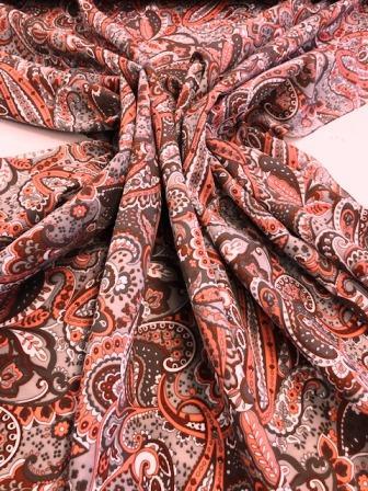 Scuba Jersey Fabric Coral Paisley Daze