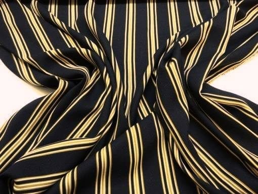 Striped Fabric Black And Mustard Viscose Mix