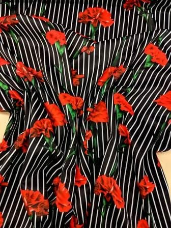 Scuba Jersey Fabric Stripe Carnation