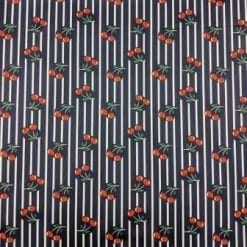 Scuba Jersey Fabric Cherry Stripe