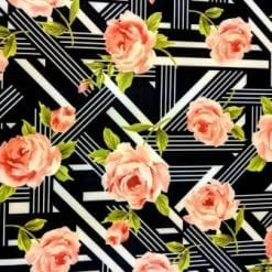 Scuba Jersey Fabric Rose Art Deco