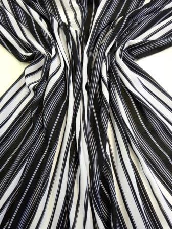 Georgette Fabric Mafia Stripe Black White