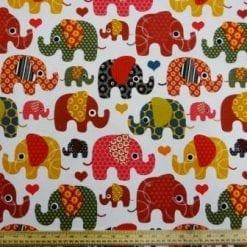 Cotton Canvas Fabric Elephant Jazz